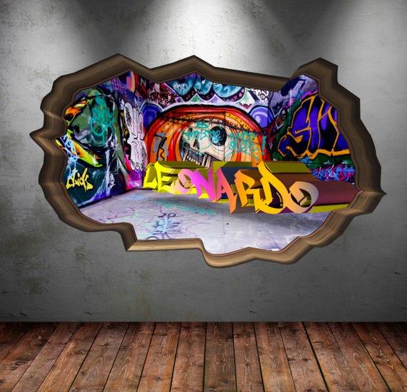 personalized name full color graffiti wall decals cracked 3d | etsy