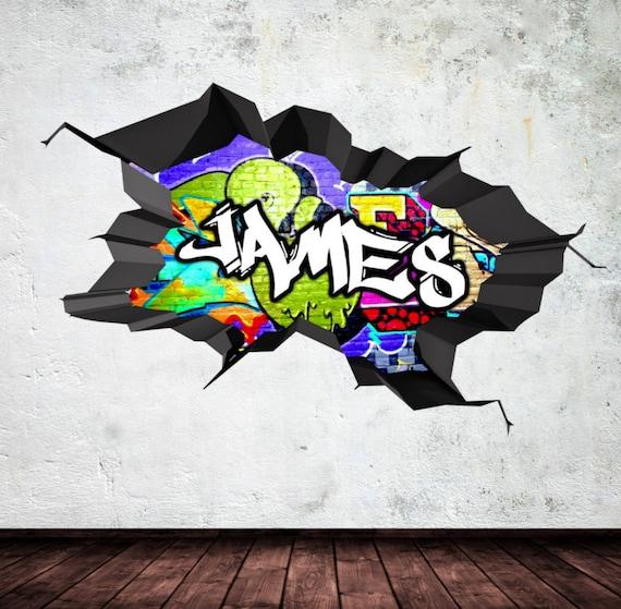 Personalisierte Massgeschneiderte Namen Graffiti Wand Etsy