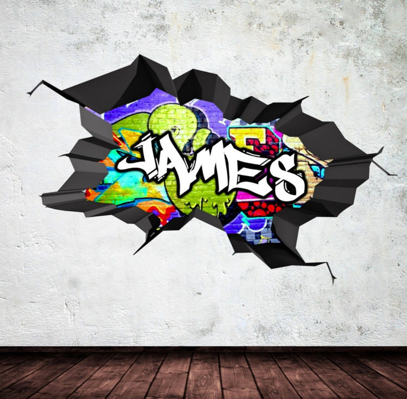personalized / customized name graffiti wall decals stickers   etsy