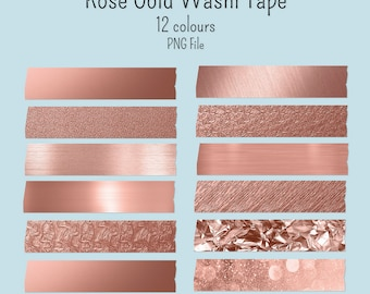 12 Roes Gold Digital stickers Washi tape digital GoodNotes png