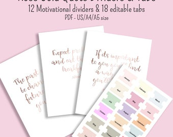 12 Rose Gold motivational Dividers and editable tabs US letter and A4 and A5 size printable and digital pdf GoodNotes