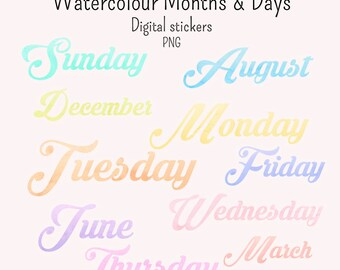 19 Watercolour Days and Months Digital stickers and GoodNotes png individual files