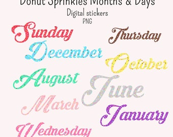 19 Donut Sprinkles Days and Months Digital stickers and GoodNotes png individual files