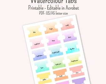 18 Watercolour patterned Dividers tabs  printable and editable US A4 A5 size