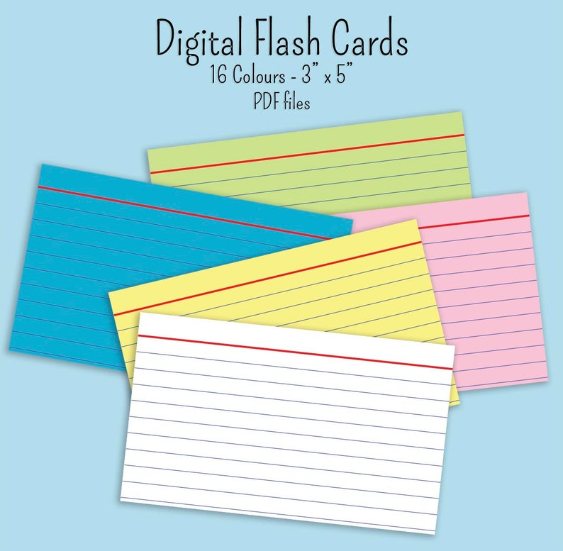 Digital Flash Index cards 3 inch x 5 inch 16 colours pdf files GoodNotes  notability digibujo