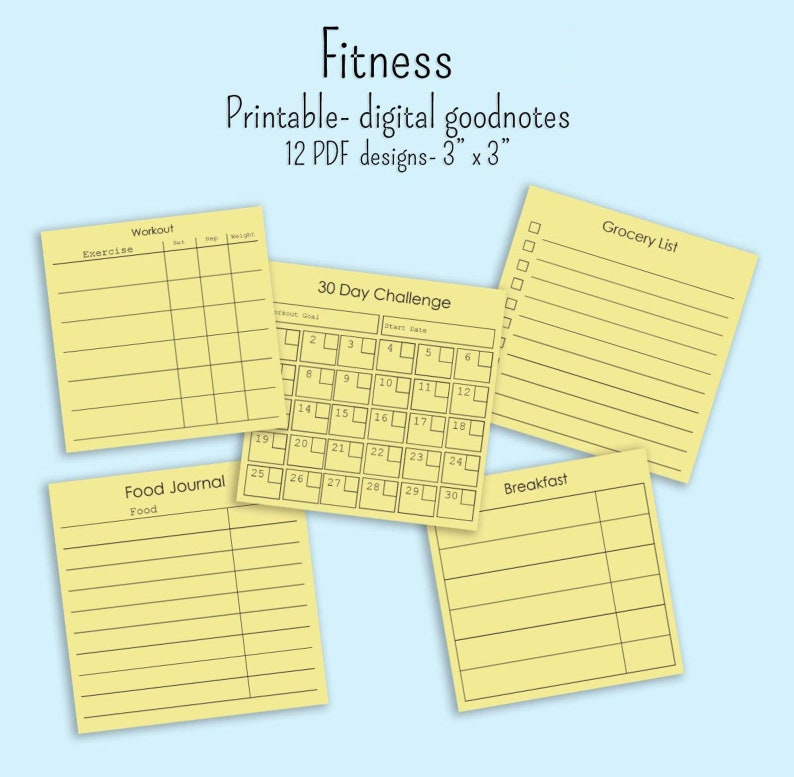 photograph relating to Printable Post It Note named 12 Physical fitness memo notes 3\