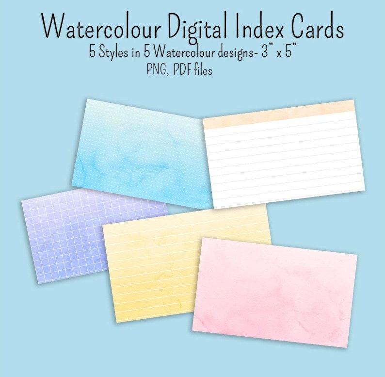 25 Watercolour Digital Flash Index cards 3 inch x 5 inch 5 styles in 5  colours pdf png files GoodNotes notability digibujo