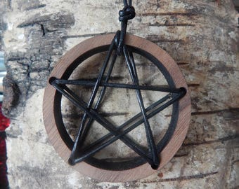 Wood and Leather Handmade Pentacle Pendant Necklace