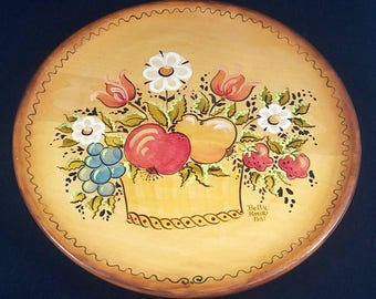 Vintage Tole Painted Wood Tray Christmas Mother's Day Birthday