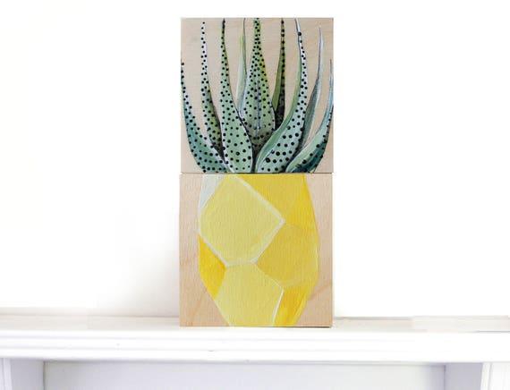 duo cactus et vase forme d ananas géo fruit sur cadre de   Etsy af36e18c2237