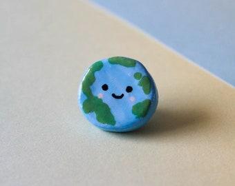Earth Pin Badge   Polymer Clay Pin Badge   Cute Pin Badges