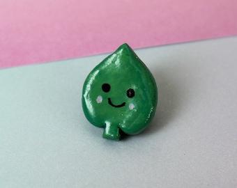 Green Leaf Pin Badge   Polymer Clay Pin Badge   Cute Pin Badges