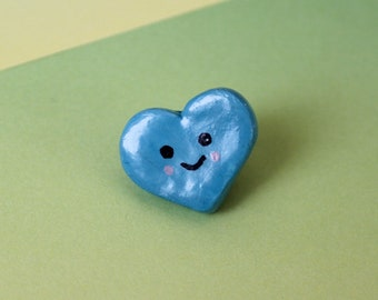 Blue Heart Pin Badge   Polymer Clay Pin Badge   Cute Pin Badges