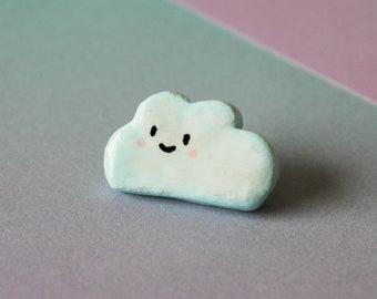 Cloud Pin Badge   Polymer Clay Pin Badge   Cute Pin Badges