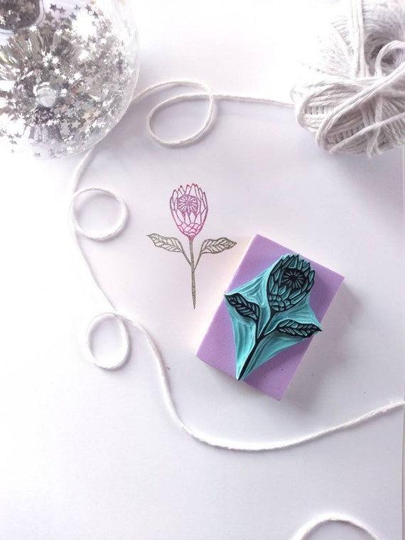 Protea flower rubber stamp floral decor for crafting