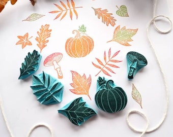 Pumpkin rubber stamp, autumn leaves rubber stamps, mushroom rubber stamp.