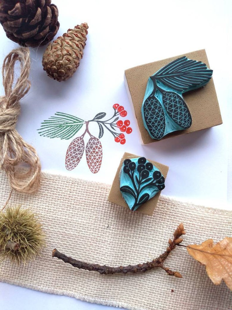 Pine cone and winter berry rubber stamps