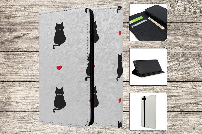 S6010 Cute Cat Pattern Credit Card Holder Wallet