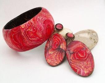 Jewelry Polymer clay jewelry Red color Handmade jewelry set: bracelet,earring Beautiful jewelry Unique authors technique Bohemian jewwelry