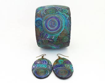 Bracelet earring Blue jewelry Boho jewelry Colorful bracelet earring Bohemian jewelry Best gift for her Jewelry for gift Polymer jewelry