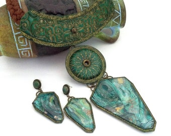 Boho jewelry set Boho pendant Boho jewelry set Green necklace Bohemian jewelry Statement pendant Statement jewelry set Gift for her