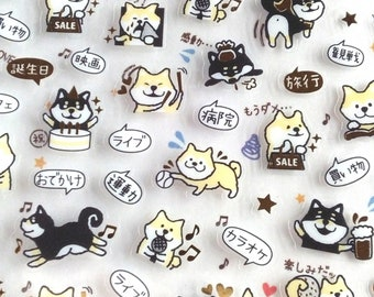 "Mini sticker, Dog sticker,foil sticker ""Shibainu"" for Journal,planner,schedule sticker<pain book>"