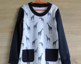 Kidswear - Giraffe clothing - cotton fleece top - toddler girl clothes - giraffe longsleeve t-shirt - blue dress toddler cotton fleece dress
