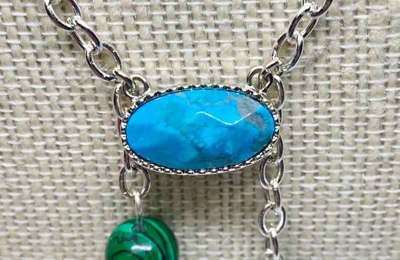 Art Deco Turquoise and Malachite Scallop Necklace