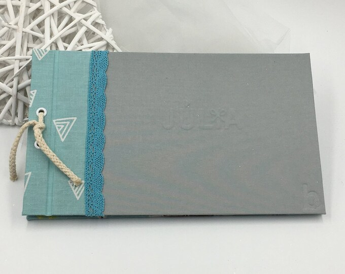 Photo album / handcrafted signature book with Polar Bear color seawater with toe. The cover can be customized with a name