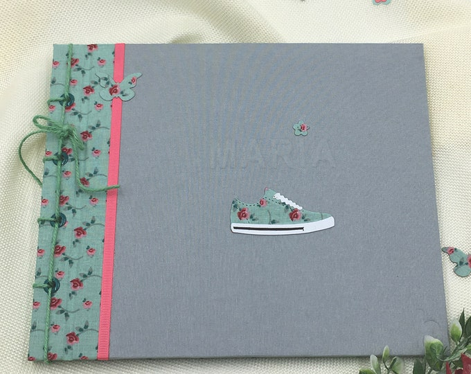 Photo album book handmade signatures SNEAKERS flowers liberty. Cover can be customized. Japanese binding. Romantic style