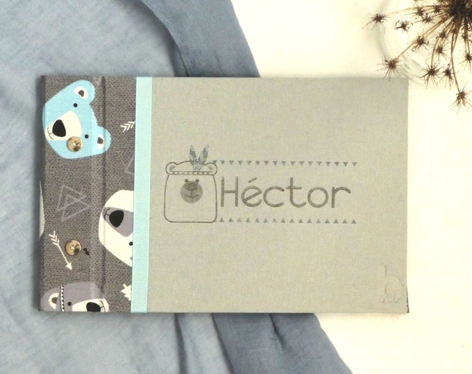 Photo album/boho style handcrafted signature book incidyba for baby gray and blue. Cover can be customized