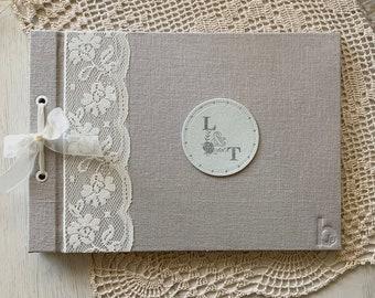 Album - Libro de Firmas forrado de seda color Plata