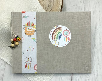 Album photos or signature book baby with rainbow owls handmade dreams customizable boho natural pages without printing rainbow christening