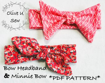 Minnie Bow & Bow Headband *PDF Pattern* Newborn-Adult, Minnie Bow Headband,Turban Headband,Baby Bow,Toddler Headband,Girl Headband