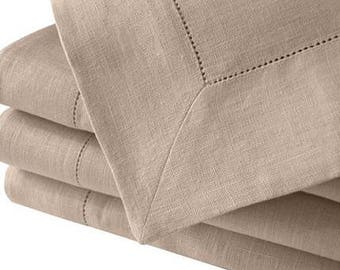 "Hemstitch 72"" Sq beige tablecloth"