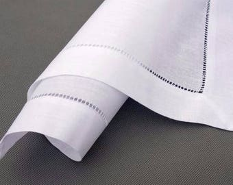 Hemstitch linen/cotton white napkin