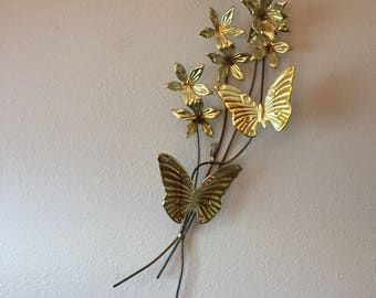 Vintage Copper Wall Flowers u0026 Butterflies- Dogwood Flower Wall Sculpture- Butterfly Wall Art- Vintage Butterfly- Gold Hollywood Regency : gold butterfly wall art - www.pureclipart.com