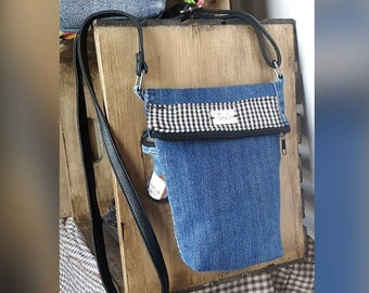 Black and white Plaid shoulder bag with recycled jeans handbag recycled materials