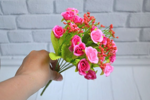 Pink Roses Wedding Flowers Small Flower Centerpieces Flower Etsy