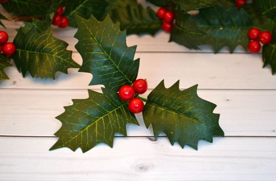 Christmas Leaves.5 Pcs Christmas Artificial Leaves Fake Leaves Greenery Decor Christmas Ornament Wrapping Gift
