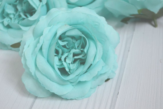 Artificial flowers fake roses silk flowers rose head turquoise etsy image 0 mightylinksfo