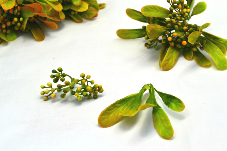 Orange greenery Artificial greenery Plastic fillers Wedding garland Autumn decor Rustic wedding Greenery wreath Bridal bouquet Flower crown