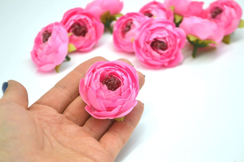 Small Ranunculus Artificial Flowers Silk Flower Heads Pink Etsy