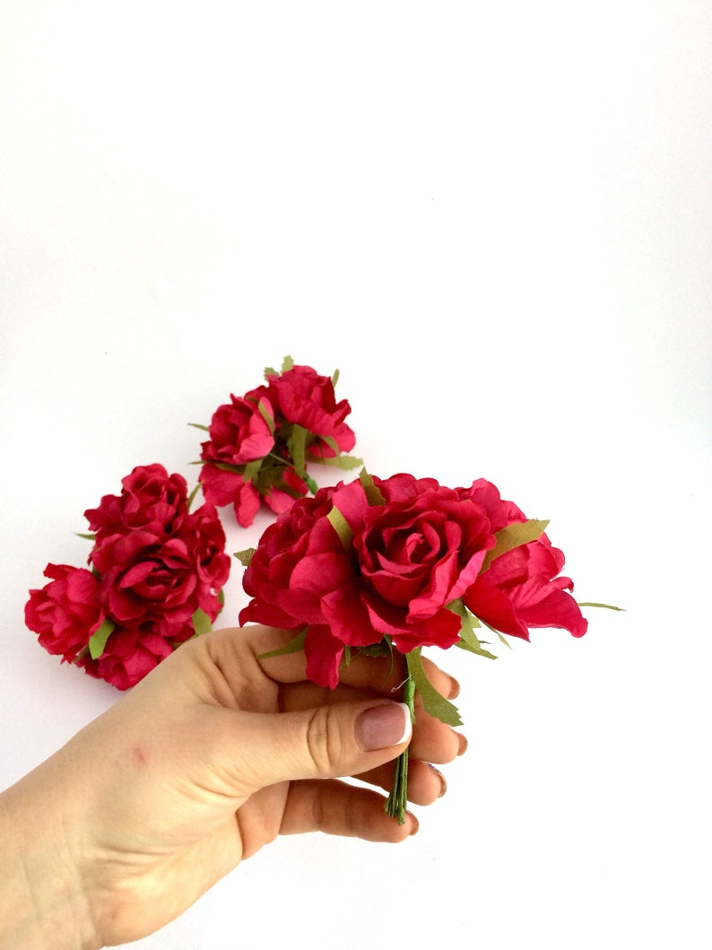 Mini bouquet Small roses Fake flowers Silk Artificial Rose in Crimson Faux roses