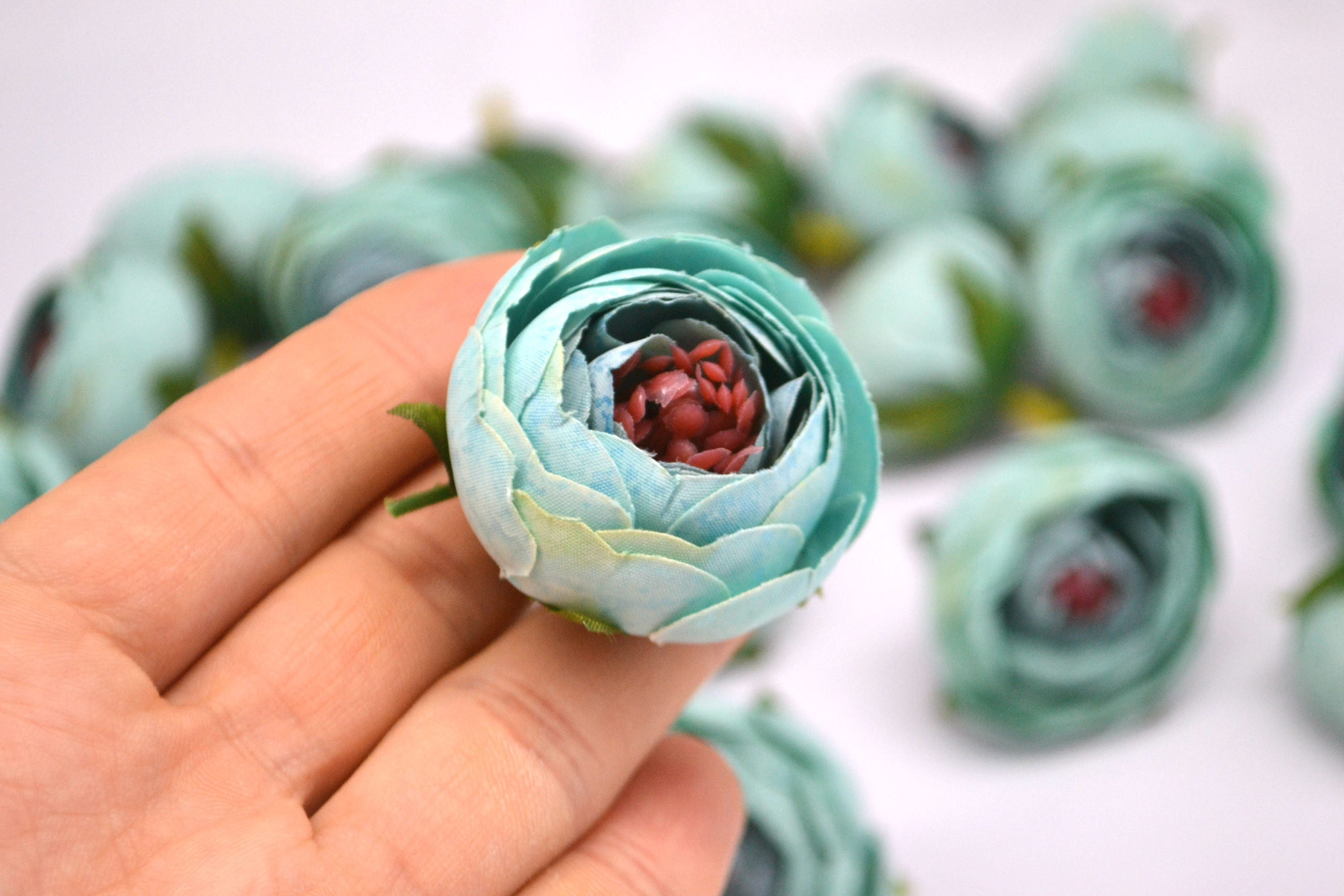 Small Ranunculus In Mint Green Silk Artificial Flowers Fake Etsy