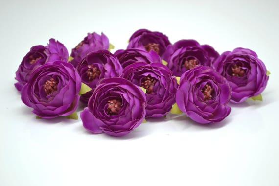 Small Ranunculus In Purple Silk Artificial Flowers Fake Etsy