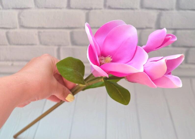 Decorazioni Natalizie Con Foglie Di Magnolia.Magnolia Fiori Fiori Fucsia Seta Fiori Fiori Matrimonio Corona Etsy