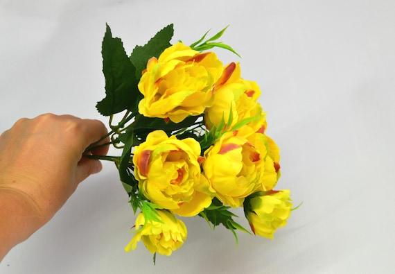 Artificial Peony Yellow Flowers Wedding Flowers Fake Flowers Etsy