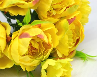 Artificial peony Yellow flowers Wedding flowers Fake flowers Bridal flowers Christmas decor Bouquet of flowers Floral arrangements DIY