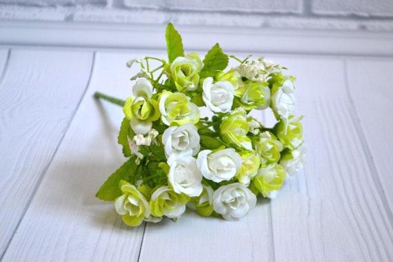 Bouquet De Roses Fleurs Artificielle Fleur Faux Roses Fleur Blanche